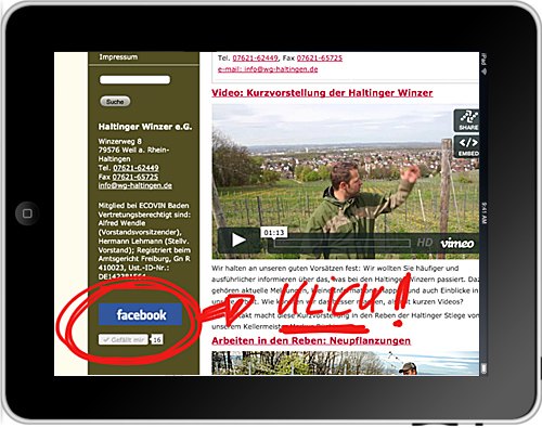 Facebook-Button auf unserer Website